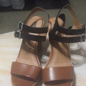 Mossimo Brown And Black Wedge Sandals